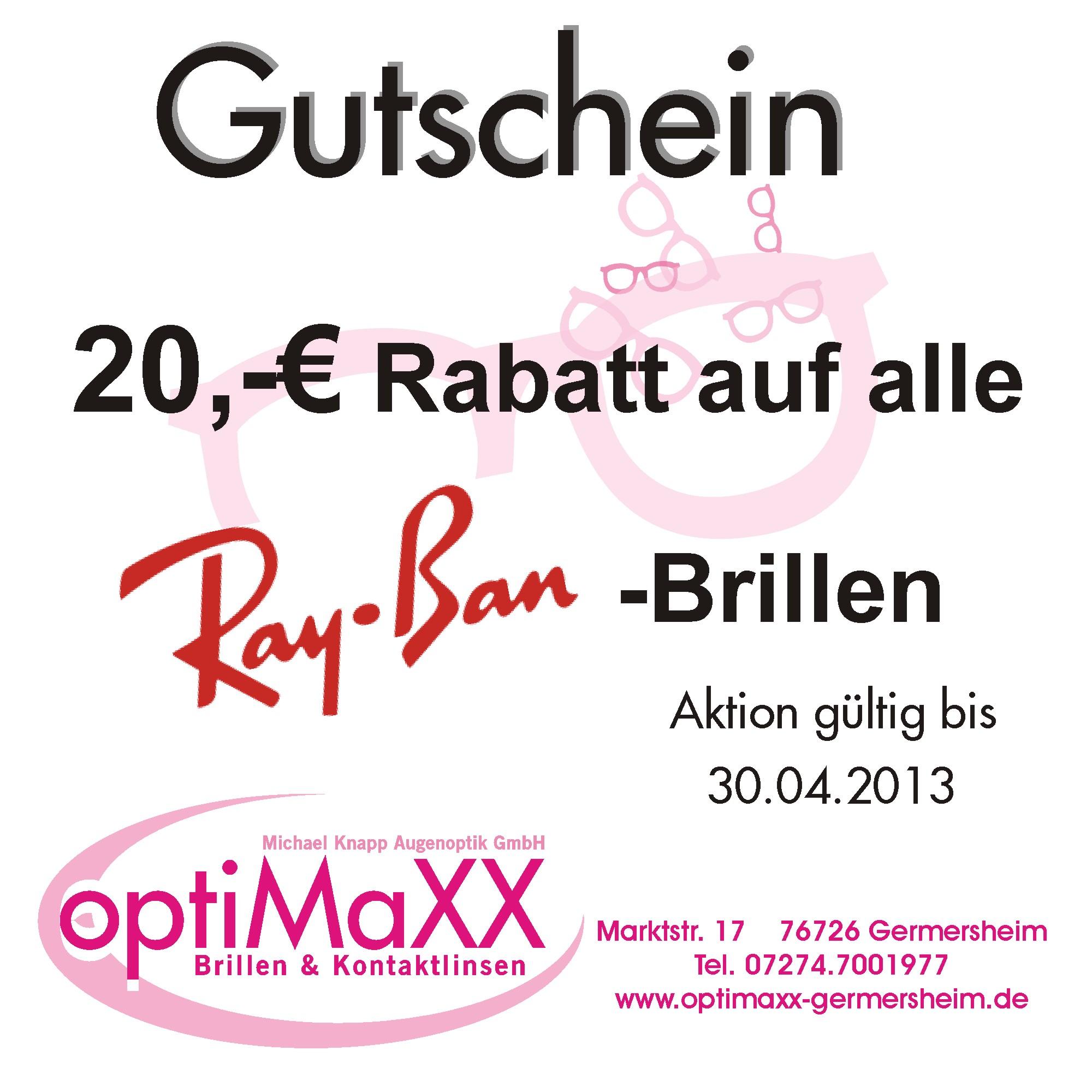 20,- € Rabatt auf RayBan-Brillen | optiMaXX - Ihre Brillenwelt ...